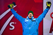9th February 2019, ARE, Sweden; Kjetil Jansrud of Norway celebrates at the medal ceremony for mens downhilll during the FIS Alpine World Ski Championships on February 9, 2019 in Are.