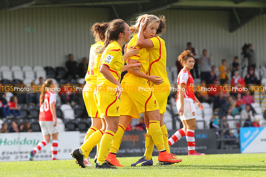 Gemma Davison of Liverpool Ladies scores a late equaliser for her team and celebrates (C) - Arsenal Ladies vs Liverpool Ladies - FA Womens Super League Football at Meadow Park, Boreham Wood FC  - 05/10/14 - MANDATORY CREDIT: Gavin Ellis/TGSPHOTO - Self billing applies where appropriate - contact@tgsphoto.co.uk - NO UNPAID USE