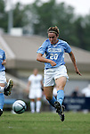 Heather O'Reilly, of UNC, takes a shot in the first half on Sunday September 18th, 2005 at Duke University's Koskinen Stadium in Durham, North Carolina. The University of North Carolina Tarheels defeated the University of Alabama-Birmingham Blazers 4-0 during the Duke adidas Classic soccer tournament.