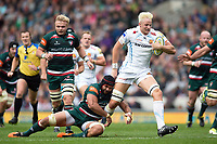 Jonny Hill of Exeter Chiefs takes on the Leicester Tigers defence. Aviva Premiership match, between Leicester Tigers and Exeter Chiefs on September 30, 2017 at Welford Road in Leicester, England. Photo by: Patrick Khachfe / JMP