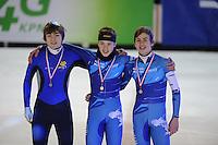 SHORTTRACK: AMSTERDAM: 05-01-2014, Jaap Edenbaan, NK Shorttrack, podium 777m, Jongens Junior C, David ten Cate, Tjerk de Boer, Jasper Brunsmann, ©foto Martin de Jong