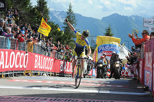 31.05.2014, Maniago to Monte Zoncolan, Italy. Giro D Italia Stage 20.  Tinkoff - Saxo 2014, Rogers Michael crosses the finish line as winner in Monte Zoncolan