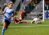 Rochester, NY - May 21, 2016: Western New York Flash goal keeper Sabrina D'Angelo (1) in action during a National Women's Soccer League (NWSL) match at Sahlen's Stadium. The Western New York Flash go on to win 5-2.