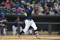 Second baseman Luis Carpio (18) of the Columbia Fireflies bats in a game against the Lakewood BlueClaws on Saturday, May 6, 2017, at Spirit Communications Park in Columbia, South Carolina. Lakewood won, 1-0 with a no-hitter. (Tom Priddy/Four Seam Images)