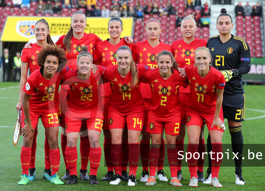 20191008 CLUJ NAPOCA: Belgian team photo with Tessa Wullaert (9), Tine De Caigny (6), Laura Deneve (18), Julie Biemans (20), Ella van Kerkhoven (3), Nicky Evrard, Janice Cayman (11), Davina Philtjens (2), Davinia Vanmechelen (14), Laura Deloose (22) and Kassandra Missipo (23)               before the match between Belgium Women's National Team and Romania Women's National Team as part of EURO 2021 Qualifiers on 8th of October 2019 at CFR Stadium, Cluj Napoca, Romania. PHOTO SPORTPIX | SEVIL OKTEM