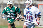 Los Angeles, CA 02/06/16 - Andrew Laron (Cal Poly #22) and Jackson Myers (Loyola Marymount #12)in action during the Cal Poly SLO Mustangs vs Loyola Marymount Lions MCLA Men's Lacrosse game.  Cal Poly defeated LMU 24-5