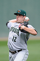 Starting pitcher Samuel Coonrod (12) of the Augusta GreenJackets warms up before a game against the Greenville Drive on Sunday, April 12, 2015, at Fluor Field at the West End in Greenville, South Carolina. Augusta won, 2-1. (Tom Priddy/Four Seam Images)