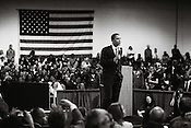 Illinois Sentator and Democratic Presidential Candidate Barack Obama speaks to a packed audience during a town hall meeting inside the Gov. Kerr Scott Building on the NC State Fairgrounds, Thrus., April 17, 2008.