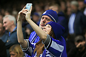 1st October 2017, Hillsborough, Sheffield, England; EFL Championship football, Sheffield Wednesday versus Leeds United; two Sheffield Wednesday fans take a selfie with smiles as their team are winning 2-0