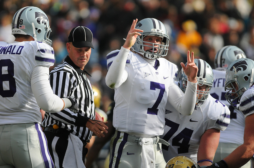 NOVEMBER 20, 2010:  Kansas State quarterback Collin Klein during a Big XII conference game between the Kansas State Wildcats and the University of Colorado Buffaloes at Folsom Field in Boulder, Colorado. The Buffaloes beat the Wildcats 44-36. *****For editorial use only*****