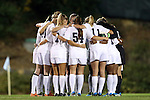 31 October 2013: UNC's starters huddle before the game. The University of North Carolina Tar Heels hosted the Duke University Blue Devils at Fetzer Field in Chapel Hill, NC in a 2013 NCAA Division I Women's Soccer match. North Carolina won the game 3-0.