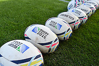 A general view of Rugby World Cup branded balls. Rugby World Cup Pool C match between Tonga and Namibia on September 29, 2015 at Sandy Park in Exeter, England. Photo by: Patrick Khachfe / Onside Images