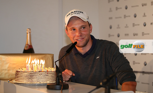 Maximilian Kieffer (GER) receives a cake and gifts on his birthday during the Media Interview ahead of the BMW International Open 2014 from Golf Club Gut Lärchenhof, Pulheim, Köln, Germany. Picture:  David Lloyd / www.golffile.ie