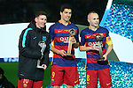 (L-R) Lionel Messi, Luis Suarez, Andres Iniesta (Barcelona), <br /> DECEMBER 20, 2015 - Football / Soccer : <br /> FIFA Club World Cup Japan 2015 <br /> award ceremony  <br /> at Yokohama International Stadium in Kanagawa, Japan.<br /> (Photo by Yohei Osada/AFLO SPORT)