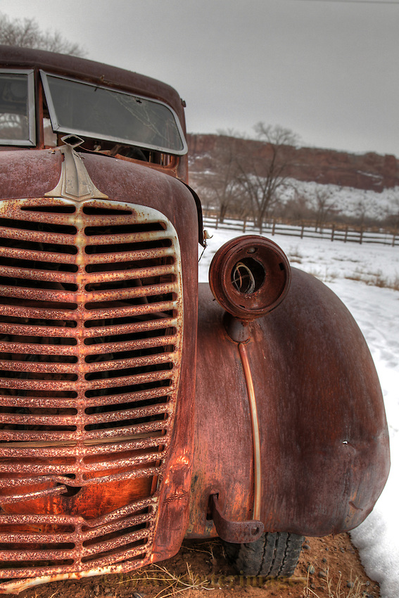 A special rusty truck makes you want to run your hands over the grill.