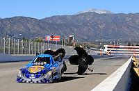Nov 11, 2010; Pomona, CA, USA; NHRA funny car driver Jim Head during qualifying for the Auto Club Finals at Auto Club Raceway at Pomona. Mandatory Credit: Mark J. Rebilas-