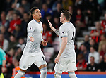 Chris Smalling of Manchester United (l) celebrates scoring the first goal with Phil Jones of Manchester United during the premier league match at the Vitality Stadium, Bournemouth. Picture date 18th April 2018. Picture credit should read: David Klein/Sportimage