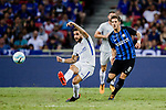 Chelsea Midfielder Cesc Fabregas (L) looks to bring the ball down after dribbling FC Internazionale Forward Stevan Jovetic (R) during the International Champions Cup 2017 match between FC Internazionale and Chelsea FC on July 29, 2017 in Singapore. Photo by Marcio Rodrigo Machado / Power Sport Images