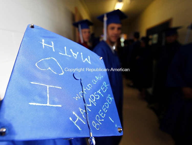 Torrington, CT-11, June 2010-061110CM07   Some graduates decorated their hats, like this one shown here, before the Explorations Charter School Friday night in Torrington. --Christopher Massa Republican-American