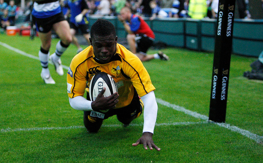 Photo: Richard Lane/Richard Lane Photography. Bath United v London Wasps A. Guinness A League. 07/09/2009. Wasps' Christian Wade dives in for a try.