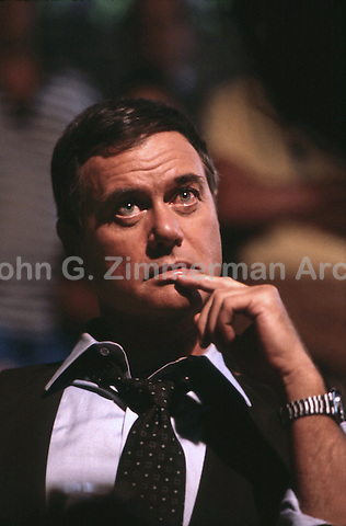 "Larry Hagman as J.R. Ewing on set of ""Dallas,"" TV series, 1980. Photo by John G. Zimmerman."
