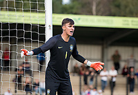 Goalkeeper Matheus Planelles Donelli of Brazil during the Under 18 International friendly match between England U18 & Brazil U18 at Hednesford Town Football Club, Keys Park, Cannock on 8 September 2019. Photo by Andy Rowland.