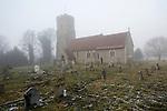 Freezing fog and frost, St Margaret's church, Shottisham, Suffolk, England