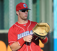 Catcher Cameron Rupp (33) of the Lakewood BlueClaws, Class A affiliate of the Philadelphia Phillies, in a game against the Greenville Drive on July 12, 2011, at Fluor Field at the West End in Greenville, South Carolina. (Tom Priddy/Four Seam Images)