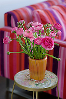 Brightly coloured ranunculas arranged in a vase have been chosen to pick out the bright pink of the adjacent sofa