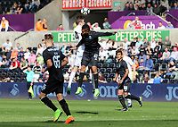 Isreal Leon of Porto and Ryan Blair of Swansea City contend for the aerial ball during the Premier League International Cup Semi Final match between Swansea City and Porto at The Liberty Stadium, Swansea, Wales, UK. Saturday, 25 March 2017