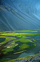 Tundra ponds below talus slopes in unnamed valley amid rugged peaks of the Endicott Mountains in the Brooks Range at Gates of Arctic National Park, Alaska, TomBean_Pix_0736.