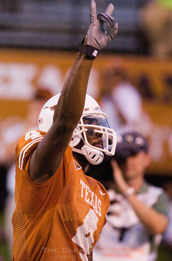 30 September 2006: Texas receiver Limas Sweed celebrates in the endzone after a long touchdown reception during the Longhorns 56-3 victory over the Sam Houston State Bearkats at Darrell K Royal Memorial Stadium in Austin, TX.
