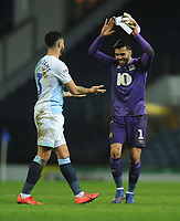 Blackburn Rovers' David Raya celebrates his sides win with team-mate Derrick Williams<br /> <br /> Photographer Kevin Barnes/CameraSport<br /> <br /> The EFL Sky Bet Championship - Blackburn Rovers v Wigan Athletic - Tuesday 12th March 2019 - Ewood Park - Blackburn<br /> <br /> World Copyright © 2019 CameraSport. All rights reserved. 43 Linden Ave. Countesthorpe. Leicester. England. LE8 5PG - Tel: +44 (0) 116 277 4147 - admin@camerasport.com - www.camerasport.com
