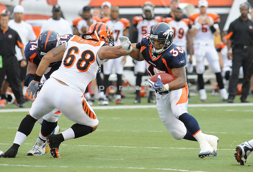 LANCE BALL, of the Denver Broncos  in action during the Broncos game against the Cincinnati Bengals at Paul Brown Stadium in Cincinnati, OH.  on August 20, 2010.  The Bengals beat the Broncos 22-9 in the second week of preseason games...