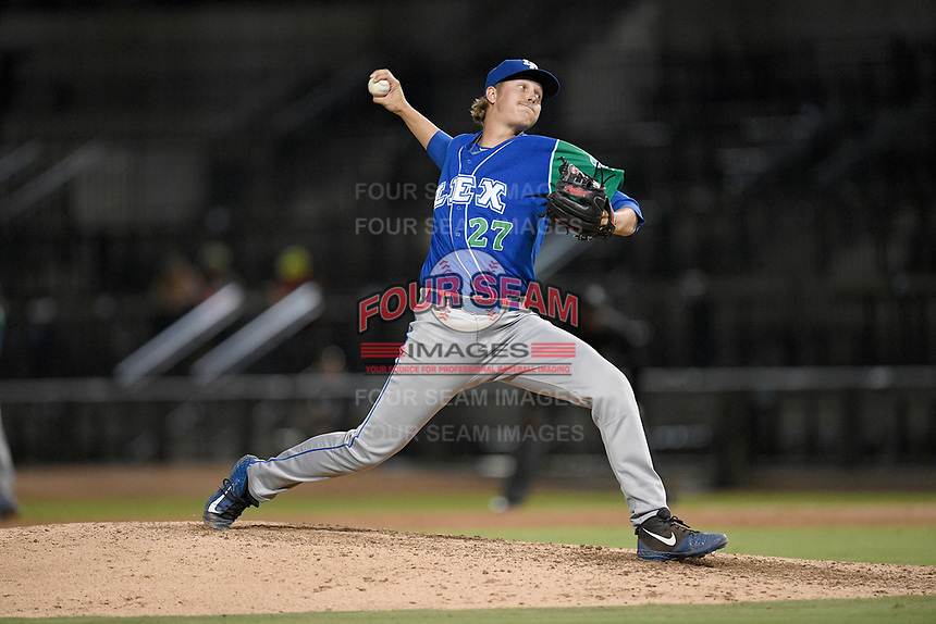 Pitcher Daniel James (27) of the Lexington Legends delivers a pitch in a game against Columbia Fireflies on Thursday, June 13, 2019, at Segra Park in Columbia, South Carolina. Lexington won, 10-5. (Tom Priddy/Four Seam Images)