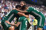 Real Betis's Antonio Sanabria celebrating a goal during La Liga match between Real Madrid and Real Betis at Santiago Bernabeu Stadium in Madrid, Spain September 20, 2017. (ALTERPHOTOS/Borja B.Hojas)