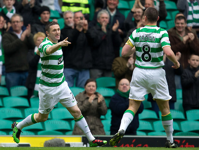 Robbie Keane celebrates his goal for Celtic