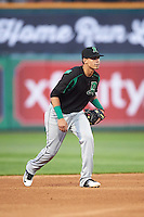 Dayton Dragons shortstop Luis Gonzalez (2) during a game against the Peoria Chiefs on May 6, 2016 at Dozer Park in Peoria, Illinois.  Peoria defeated Dayton 5-0.  (Mike Janes/Four Seam Images)