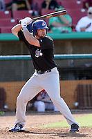 Josh Whitaker #22 of the Stockton Ports bats against the High Desert Mavericks at Stater Bros. Stadium on May 27, 2012 in Adelanto,California. High Desert defeated Stockton 6-5.(Larry Goren/Four Seam Images)