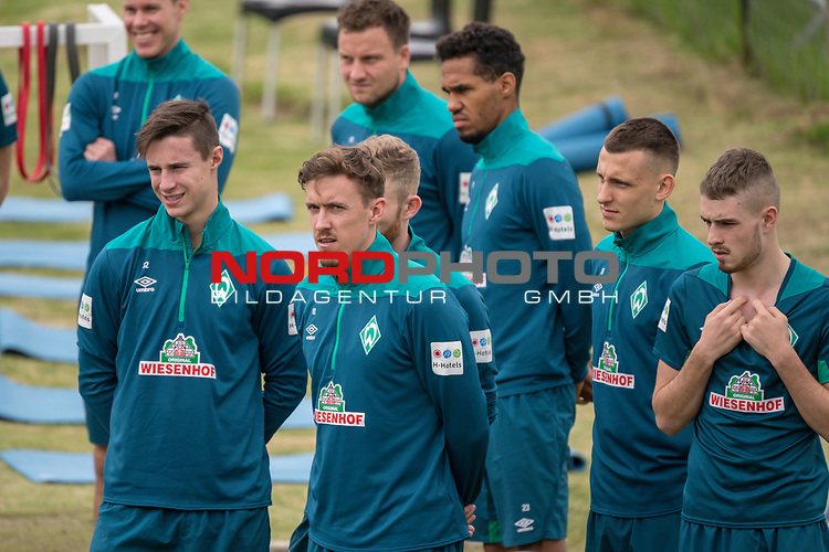 04.01.2019, Trainingsgelaende Randburg Football Club, Johannesburg, RSA, TL Werder Bremen Johannesburg Tag 02<br /> <br /> im Bild / picture shows <br /> <br /> Kraftsport am Morgen vor dem Training in Sueddafrika <br /> Marco Friedl (Werder Bremen #32)<br /> Max Kruse (Werder Bremen #10)<br /> Theodor Gebre Selassie (Werder Bremen #23)<br /> Philipp Bargfrede (Werder Bremen #44)<br /> Maximilian Eggestein (Werder Bremen #35)<br /> Niklas Moisander (Werder Bremen #18)<br /> <br /> Foto &copy; nordphoto / Kokenge