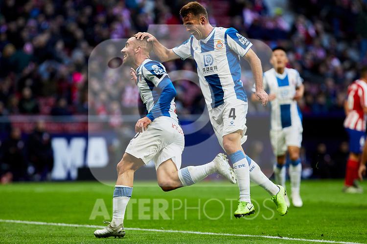 Sergi Darder (L) and Victor Sanchez (R) of RCD Espanyol celebrate goal during La Liga match between Atletico de Madrid and RCD Espanyol at Wanda Metropolitano Stadium in Madrid, Spain. November 10, 2019. (ALTERPHOTOS/A. Perez Meca)