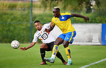 2018-07-11 / Voetbal / Seizoen 2018-2019 / Union Saint-Gilloise - KV Mechelen / Lucas Bijker (l. KVM) met Serge Tabekou<br /> <br /> ,Foto: Mpics