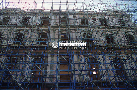 Ancient building in Havana; Cuba; covered in scaffolding in the process of being renovated,