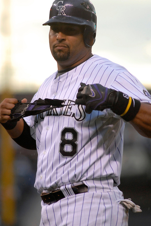 03 July 2008: Colorado Rockies catcher Yorvit Torrealba pulls his batting glove off after being thrown out at first base during a game against the Florida Marlins. The Rockies defeated the Marlins 6-5 in 11 innings at Coors Field in Denver, Colorado.