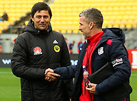 Coaches Darije Kalezic (left) and Marco Kurtz shake hands before the A-League football match between Wellington Phoenix and Adelaide United FC at Westpac Stadium in Wellington, New Zealand on Sunday, 8 October 2017. Photo: Mike Moran / lintottphoto.co.nz