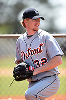 Detroit Tigers pitcher Hudson Randall (32) warms up in the bullpen during a minor league spring training game against the Houston Astros on March 21, 2014 at Osceola County Complex in Kissimmee, Florida.  (Mike Janes/Four Seam Images)