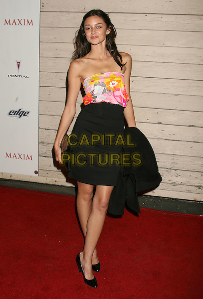 CAROLINE D'AMORE.Maxim's Hot 100 Party 2008 at Paramount Studios, Hollywood, California, USA, .21 May 2008..full length black skirt strapless floral print top pink.CAP/ADM/MJ.©Michael Jade/Admedia/Capital PIctures