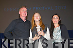 Dave Fanning, Saoirse Ronan being presented with the Maureen O'Hara award by Roisin McGuigan at Kerry Film Festival awards at Saint Johns Church Ashe Street on Saturday.