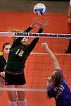 RAPID CITY, SD: NOVEMBER 18:  Sydney Schell #12 of Northwester tries to block a kill by Danille Seymour #11 of Warner during the 2017 South Dakota State Class B Volleyball Championship Saturday evening at Barnett Arena in Rapid City, S.D.   (Photo by Dick Carlson/Inertia)