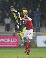 Fleetwood Town's Craig Morgan jumps with  Scunthorpe Utd's Kyle Wootton<br /> <br /> Photographer Mick Walker/CameraSport<br /> <br /> The EFL Sky Bet League One - Fleetwood Town v Scunthorpe United - Saturday 26th January 2019 - Highbury Stadium - Fleetwood<br /> <br /> World Copyright © 2019 CameraSport. All rights reserved. 43 Linden Ave. Countesthorpe. Leicester. England. LE8 5PG - Tel: +44 (0) 116 277 4147 - admin@camerasport.com - www.camerasport.com